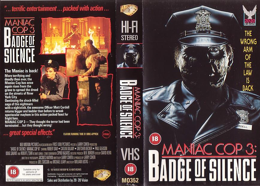 Maniac Cop 3 UK VHS